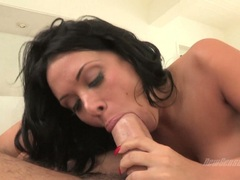 Cougar Sienna West is filthy hot enjoying her man's cane soaked in her mouth