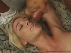 Olivia Saint is irking her man's nob until it blows fresh cum on her