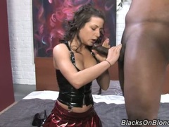 Charity Bangs twists her man's cock in her mouth like a gigantic tootsie roll