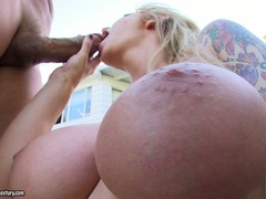 Brooke Biggs receives a rich load of cock spurt on her mouth