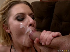 Riley Evans receives a rich load of cum on her face