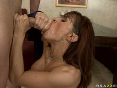 Devon Michaels open wide her mouth to catch man's cream