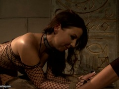 Mandy Bright torturing a hot babe in fishnet