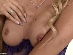 Sophie Moone fingering her cunt in purple lingerie