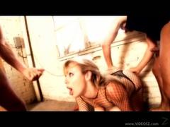 Gorgeous Adrianna Nicole deep throats a massive prick