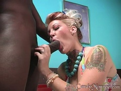 Candy Monroe grease the pole of a black guy
