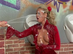 Dorina Golden is spewed with cream from a dildo