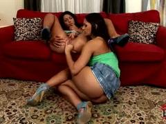 Eve Angel fingers girlfriends asshole as she licks clit