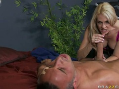 Angela Attison blonde enjoy playing the skin flute