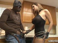 Lex Steele and Trina Michaels jerk off in the kitchen