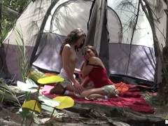 Renna Ryann kissing with her camping sexy buddy