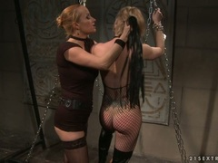 Katy Borman tortured by horny chick with chain