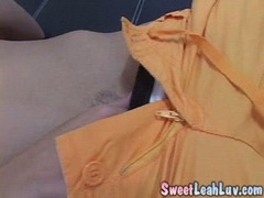 Leah Luv fingering while licking her dildo