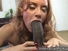 Janet Mason pull off hard the black erected cock