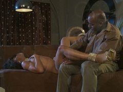 Misty Stone lie on couch and got cunt licked