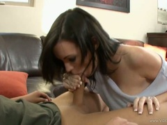 Brandi Edwards hand bang the cock of her horny boy