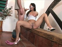 Claudia Rossi babe in high heels and glasses do oral