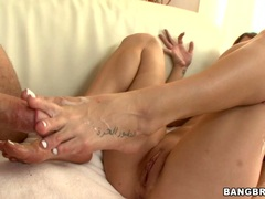 Amy Brooke love the taste of cum on her feet