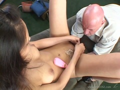 Alexis Love vibrator play in front of bald man