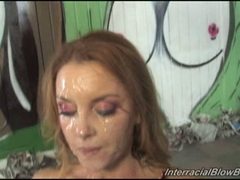 Janet Mason covered with cumshot her pretty face