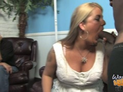 Jocklyn Stone licking hard black dick while son watch