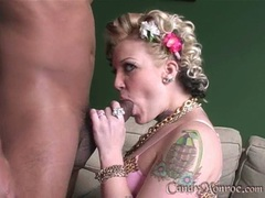 Candy Monroe hot babe sucking a massive black dick