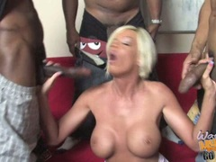 Jordan Blue mom play black cock while son is watching