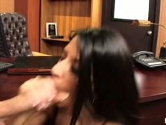 Nikki Daniels gets splattered with cum on face