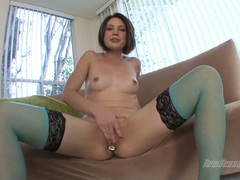 Sarah Shevon with dildo in ass fingering her cunt