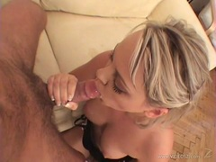 Ellen Saint sipping the cock with cum load