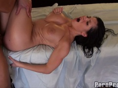 Rebecca Linares catching the cumshot from hottie dude