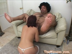 Kaci Star suck deeply the mini cock of lusty fat dude