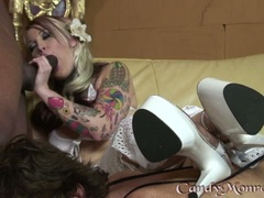Candy Monroe draining the cock of a stud by her mouth