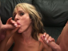 Sarah Jessie lick and wank the hard cocks