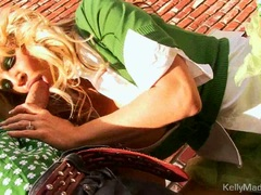 Milf Kelly Madison lifts her skirt for a fuck outdoors