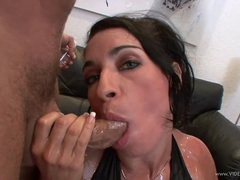 Monica Santhiago suck and wank hard cock of hot dudes