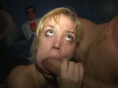 Sizzling bitch Annette Schwarz tugs on a huge meat pole