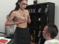 Slut Miko Lee interviews this prick with her tits