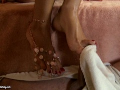 Luscious Victoria Tiffany rubs this dick with her feet