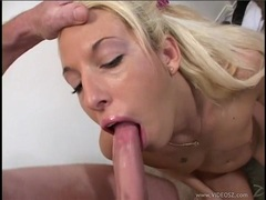 Filthy Fiona Cheeks gobbles down a huge fuck shaft