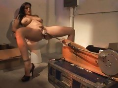 Raylene has her hairy hole fucked by a machine