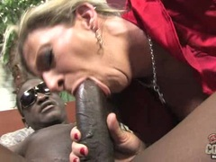 Sara Jay wanks and blows the shaft of a huge cock