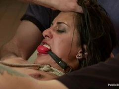 Layla Storm is gagged, bound & fucked in public