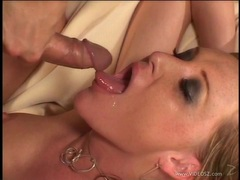 Alluring Janet Alfano gets a mouth full off warm cum