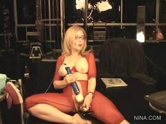 Nina Hartley plays with her soaking wet nob nest