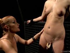 Katy Borman clamps pegs onto Linda Ray's piss flaps