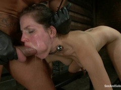 Bobbi Starr sucking cock while being tied down