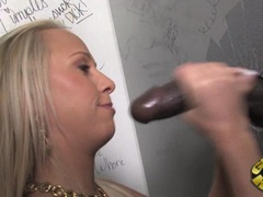 Carla Cox ramming a cock in her twat from a glory hole