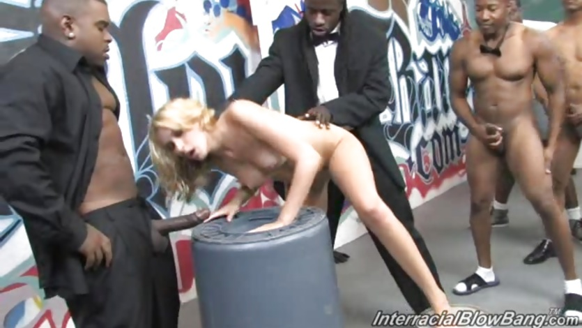 Scorching Katie Summers is spit roasted by black cocks