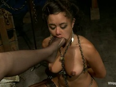Bobbi Starr crams her toes into Annie Cruz's mouth